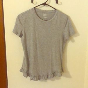 Grey shirt with ruffle accent